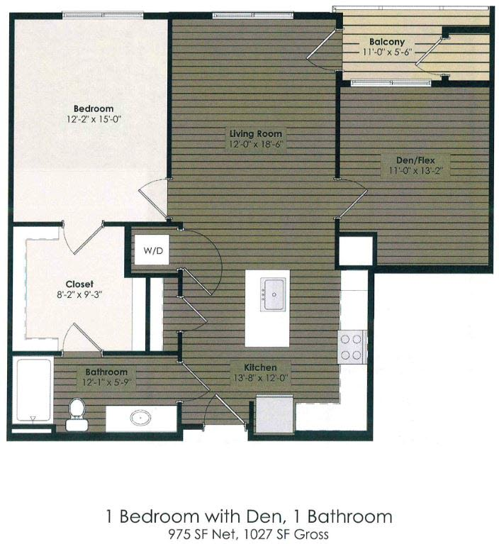 1 Bedroom with Den - Alcott