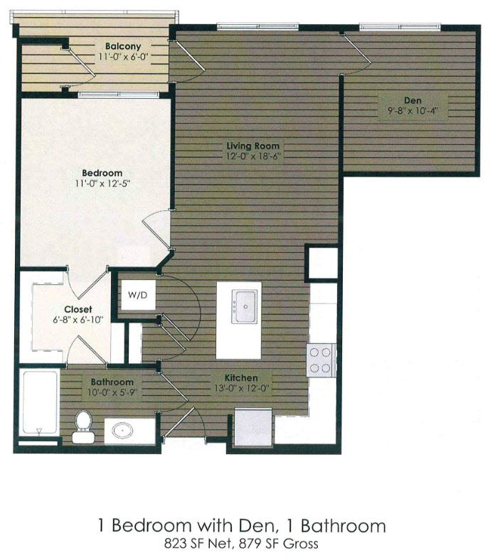 1 Bedroom with Den - Burnett